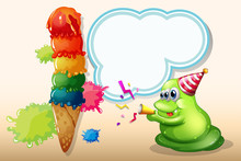 A Green Monster Celebrating Near The Big Icecream