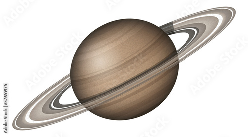 Fotografie, Obraz Planet Saturn, isolated on white