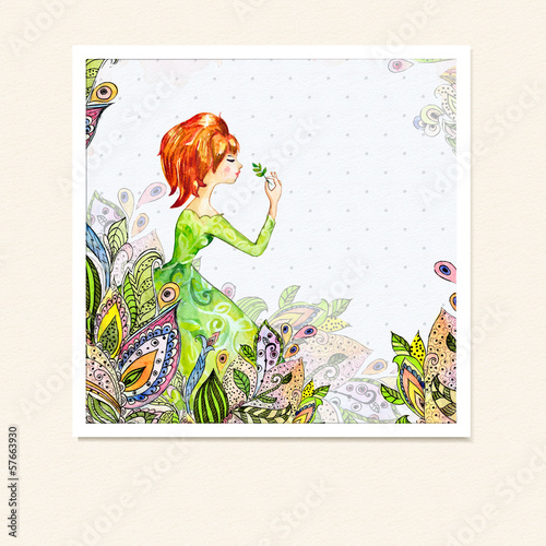 Recess Fitting Floral woman Girl in flowers watercolor