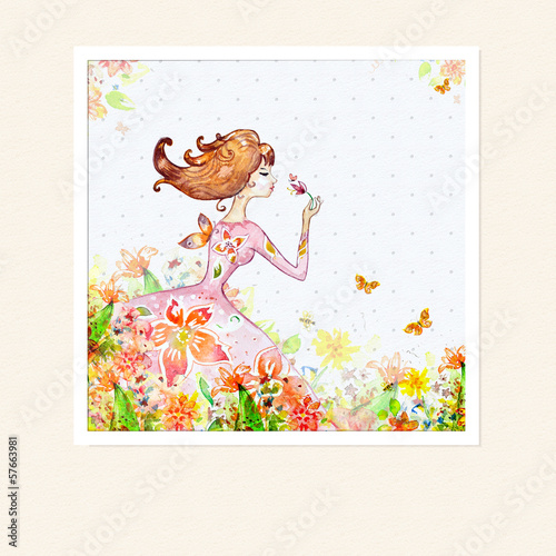 Foto op Canvas Bloemen vrouw Card girl in flowers watercolor