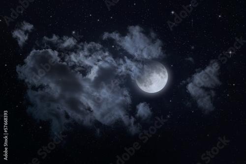 Fotobehang Volle maan Night starry sky and moon