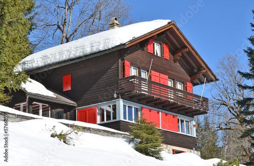 Photo sur Toile Ville sur l eau Swiss holiday cottage