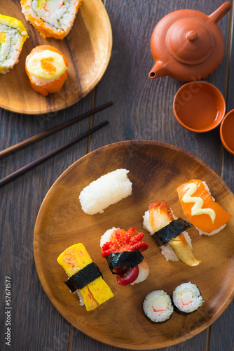 various assorted sushi on a plate