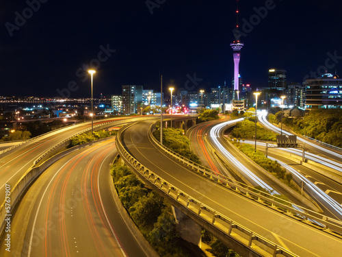 Night traffic in a major city