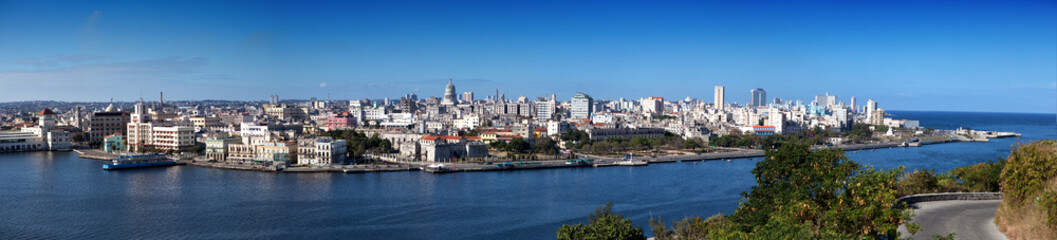 Havana.old city through  bay from Morro's fortress.Panorama