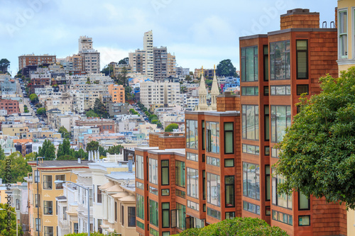 Spoed Foto op Canvas San Francisco Typical San Francisco Neighborhood, California