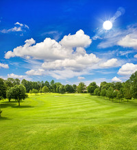 Golf Course And Blue Sunny Sky...
