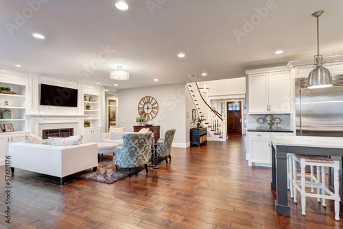 Fotografia, Obraz  Beautiful Living Room Panorama in New Luxury Home
