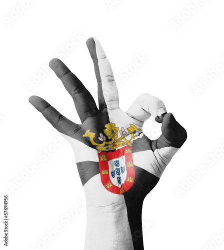 Hand making Ok sign, Ceuta flag painted