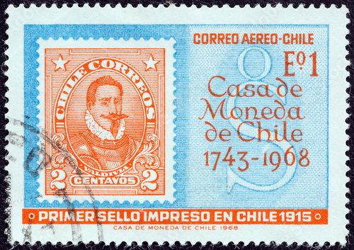 First Chilean Stamp Of 1915 Printed By The Mint Chile 1968