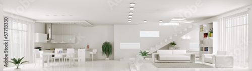 Interior of white apartment panorama 3d render - fototapety na wymiar