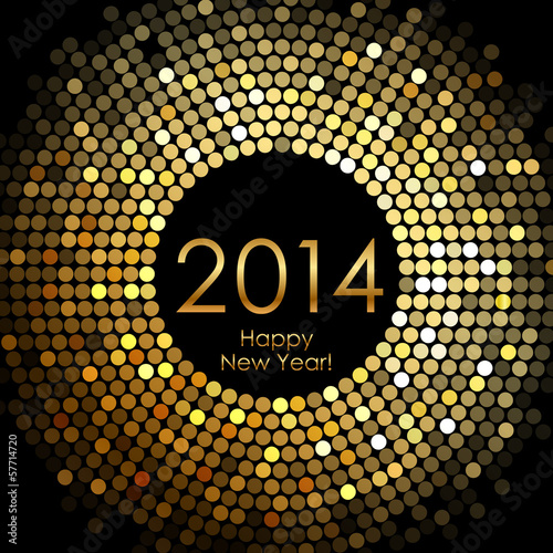 Fotografia  Vector - Happy New Year 2014 - gold disco lights frame