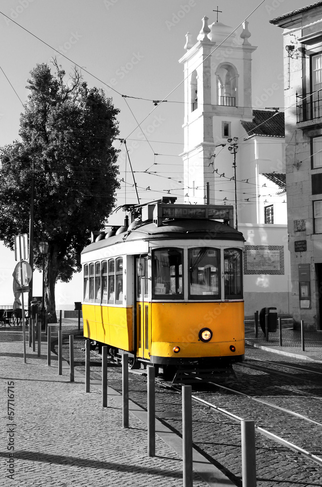 Poster, Foto Lisbon old yellow tram over black and white