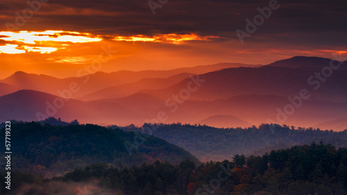 Stickers pour porte Orange eclat Misty Sunrise in the Smokies