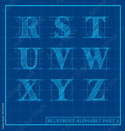 Fotografie, Obraz  Blueprint style letter set alphabet