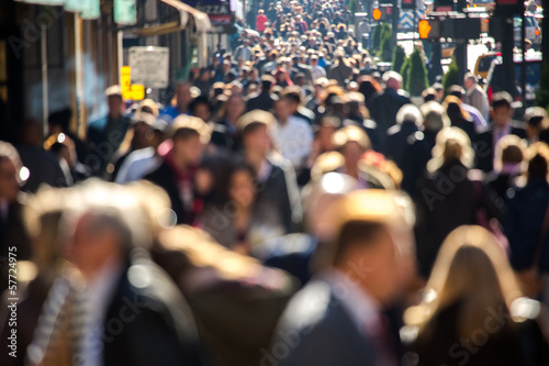 Obraz Anonymous crowd walking on a street in New York - fototapety do salonu
