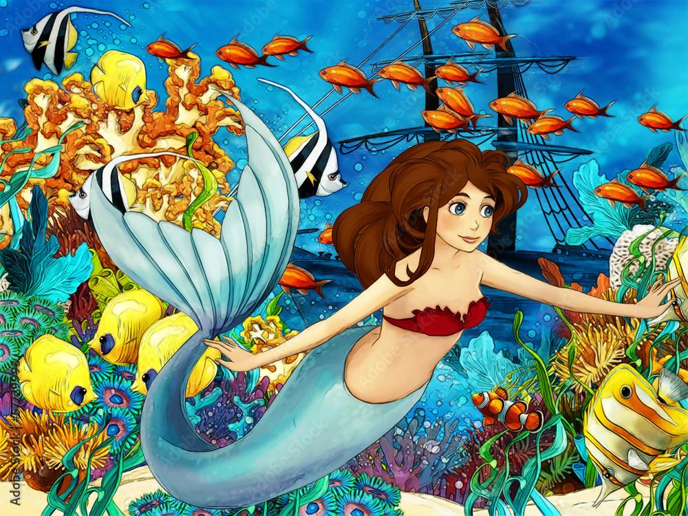 Ocean i syreny - ilustracja <span>plik: #57729993 | autor: honeyflavour</span>