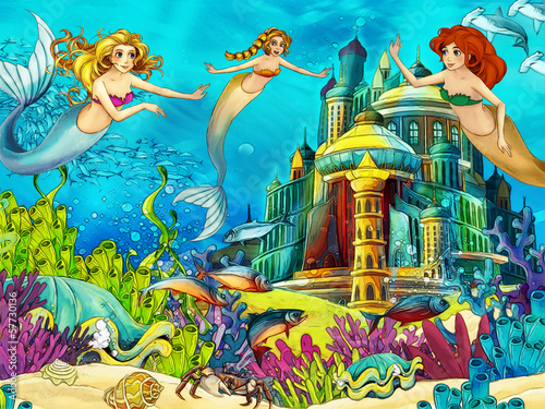 Fototapety, obrazy: The ocean and the mermaids - illustration