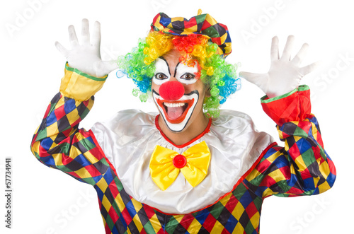 Photographie Funny clown isolated on white