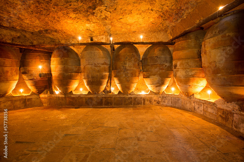 Antique winery in Spain with clay amphora pots Canvas Print