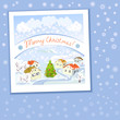 Christmas card with rural landscape and snowflakes