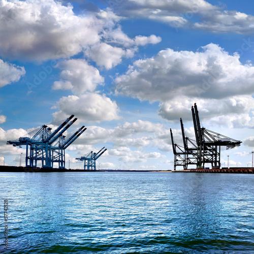 In de dag Brug Cargo sea port. Sea cargo cranes.