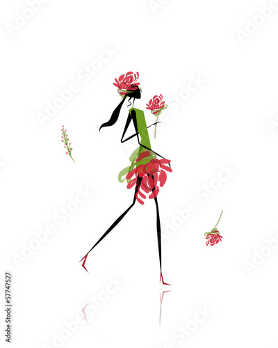 Foto op Canvas Bloemen vrouw Floral girl for your design