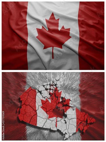 Spoed Foto op Canvas Canada Canada flag and map collage