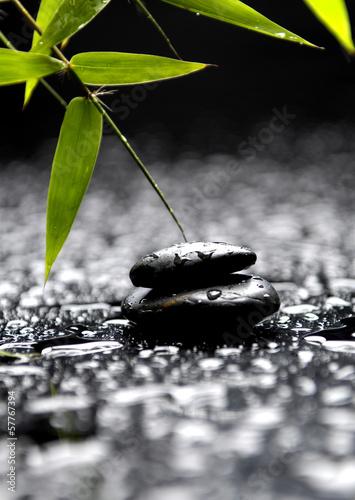 stos-kamieni-w-rownowadze-z-zielonymi-liscmi-w-wodzie