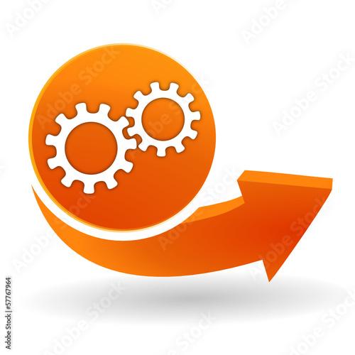 Fotografie, Obraz  engrenage sur bouton web orange
