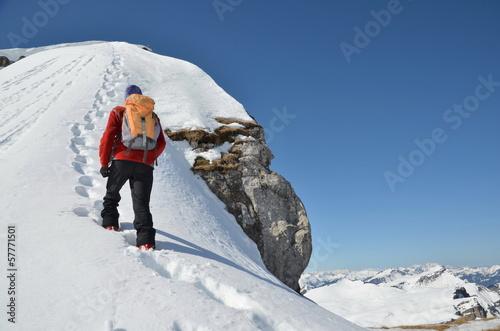 Fotografiet  Bergsteiger,  Winter, Gipfel