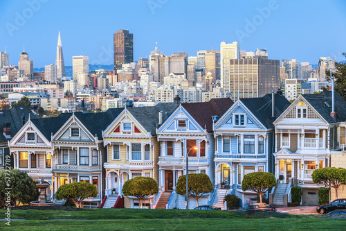 Autocollant pour porte San Francisco The Painted Ladies of San Francisco