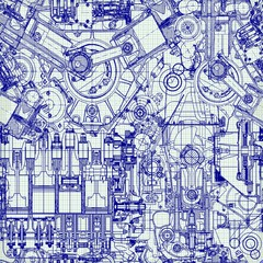Seamless background. Drawing old engine on graph paper.