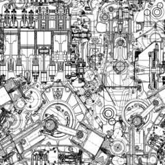 Drawing engine seamless pattern,  background.