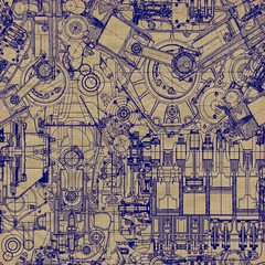 Retro Seamless background. Drawing  engine on old graph paper.