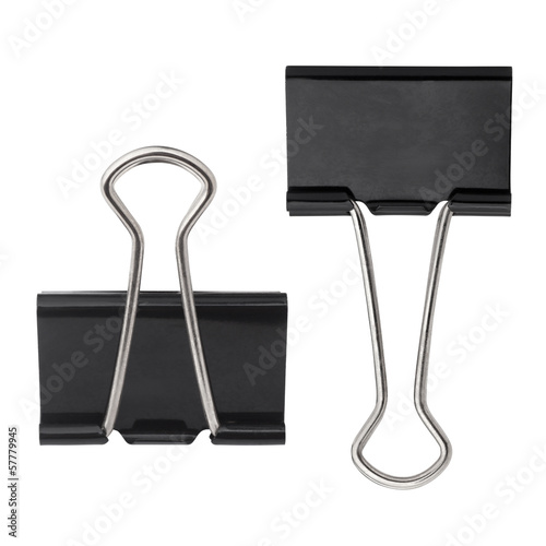 Photo  black paper clip isolated on white