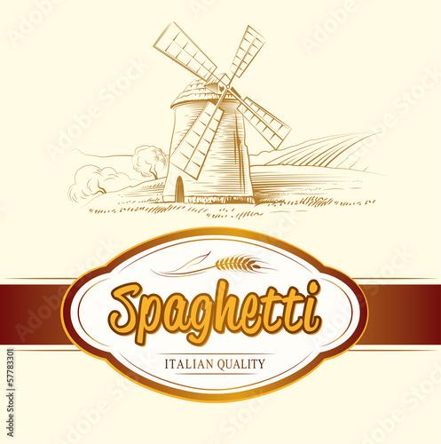 Fotografie, Obraz  spaghetti. pasta. mill. labels, pack for spaghetti, pasta