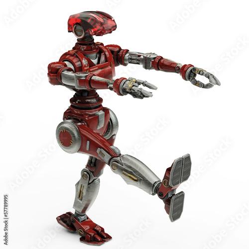 Photo  soldier robot march walk