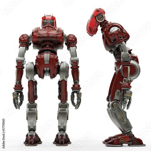2 red robot power down Wallpaper Mural