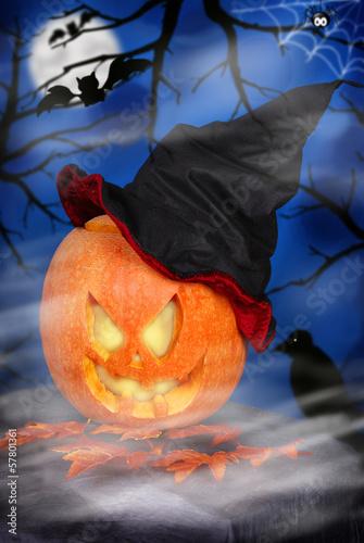Fotobehang Volle maan pumpkin lantern for halloween