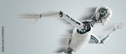 robot android men running with speed shawdow Fototapete