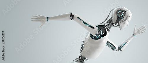 robot android men running Canvas Print