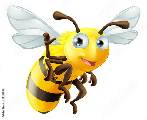 Photo  Cartoon Bee Waving