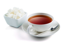 Blac Tea With Sugar Cubes Isol...