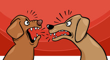 Angry Barking Dogs Cartoon Ill...