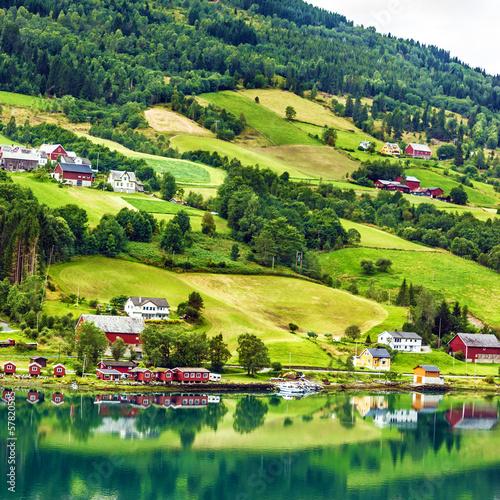 Poster Scandinavie Village houses in rural town Olden, Norway