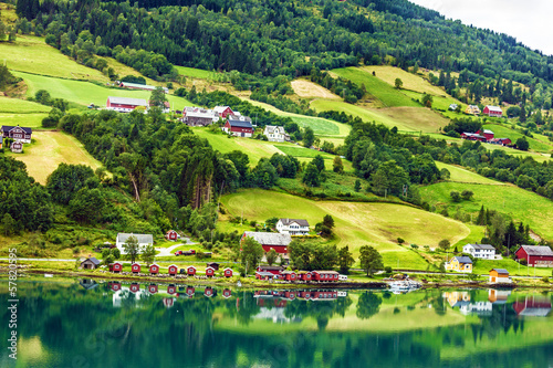 Foto op Canvas Scandinavië Country summer landscape, Olden, Norway
