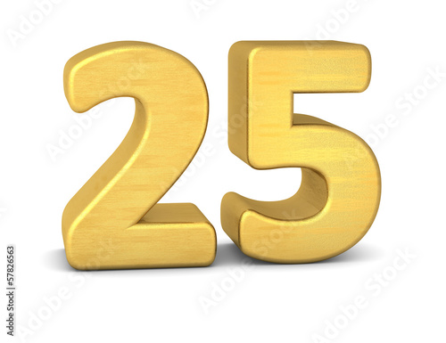 Poster  zahl cipher 25 gold vertikal