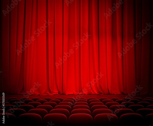 In de dag Theater theater red curtains and seats
