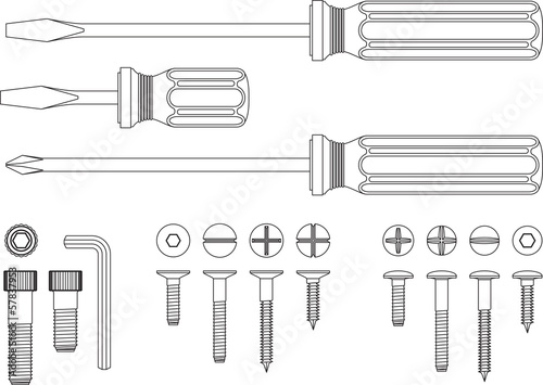 Screws, Screw Drivers and Allen Key